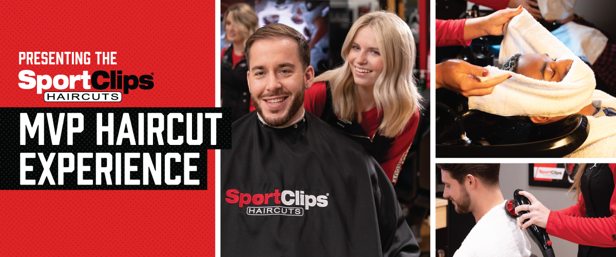 The Sport Clips Haircuts of Troy MVP Haircut Experience with stylist giving a client a haircut, a hot towel placed on his face, and using a massager on a clients upper back